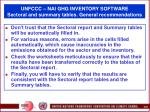 unfccc nai ghg inventory software sectoral and summary tables general recommendations