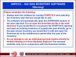 unfccc nai ghg inventory software warning