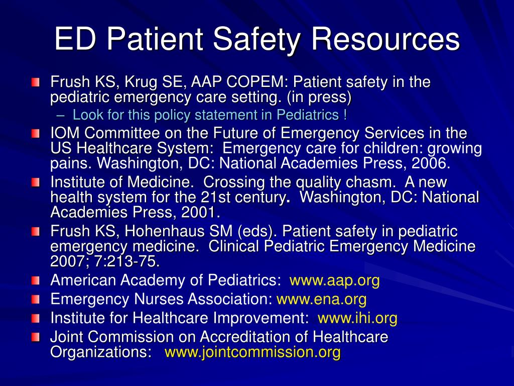 ED Patient Safety Resources