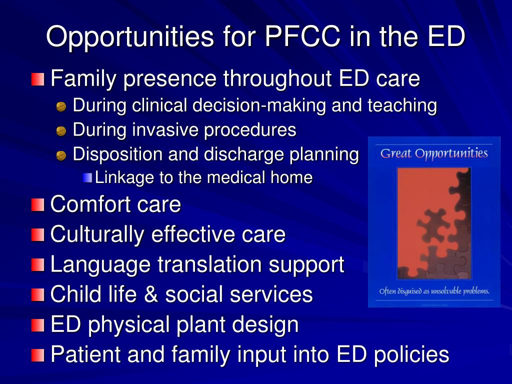 Opportunities for PFCC in the ED
