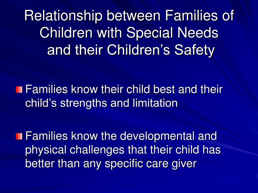 Relationship between Families of Children with Special Needs