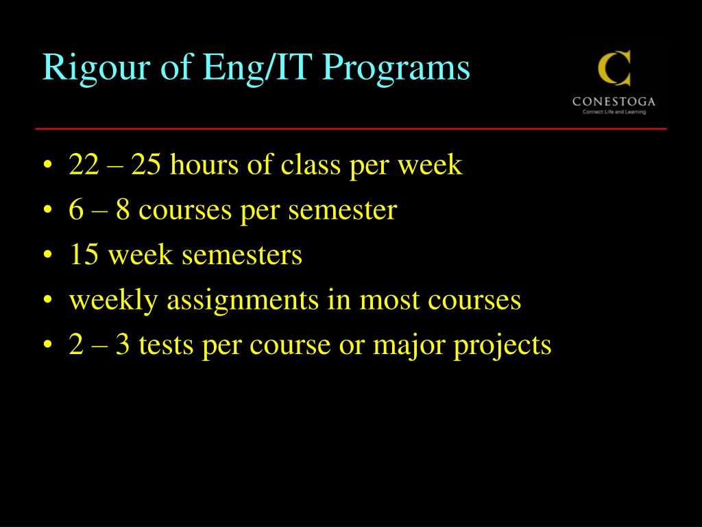 Rigour of Eng/IT Programs