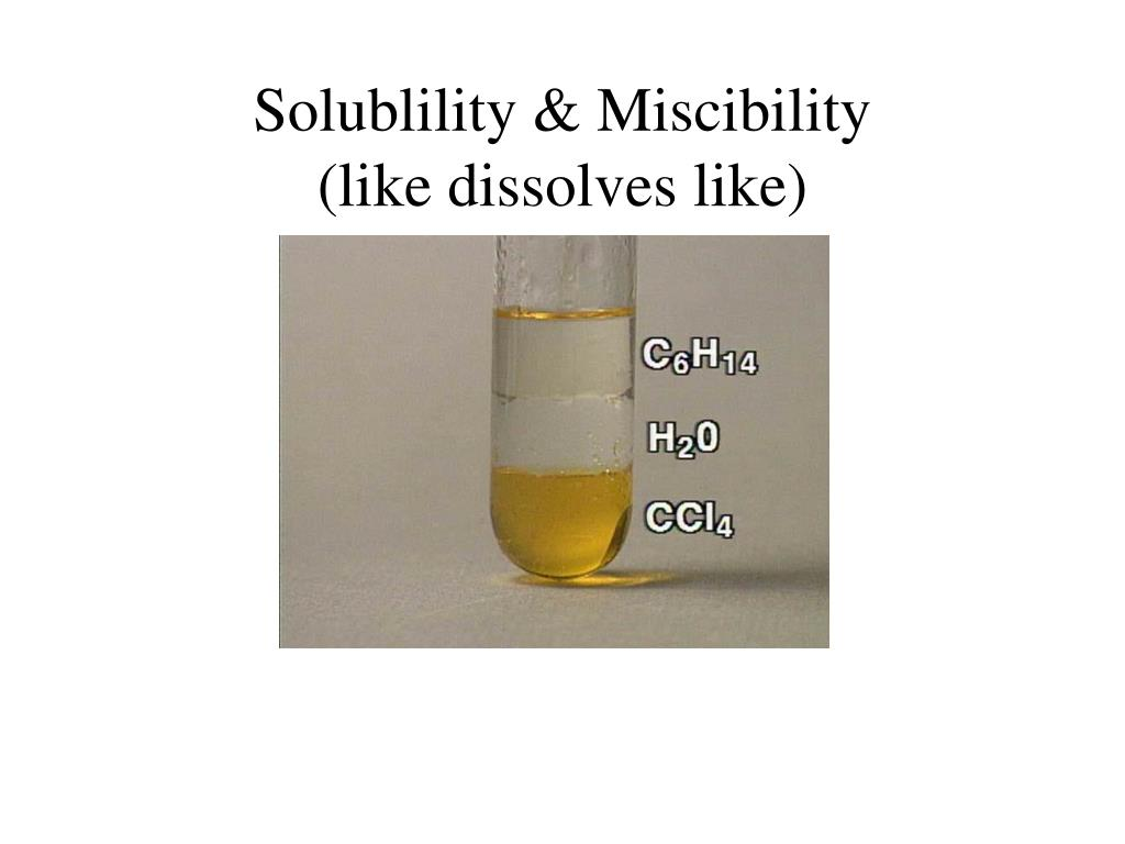 Solublility & Miscibility
