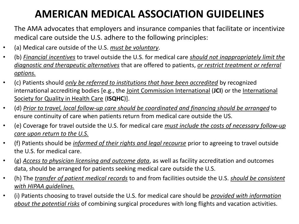 AMERICAN MEDICAL ASSOCIATION GUIDELINES