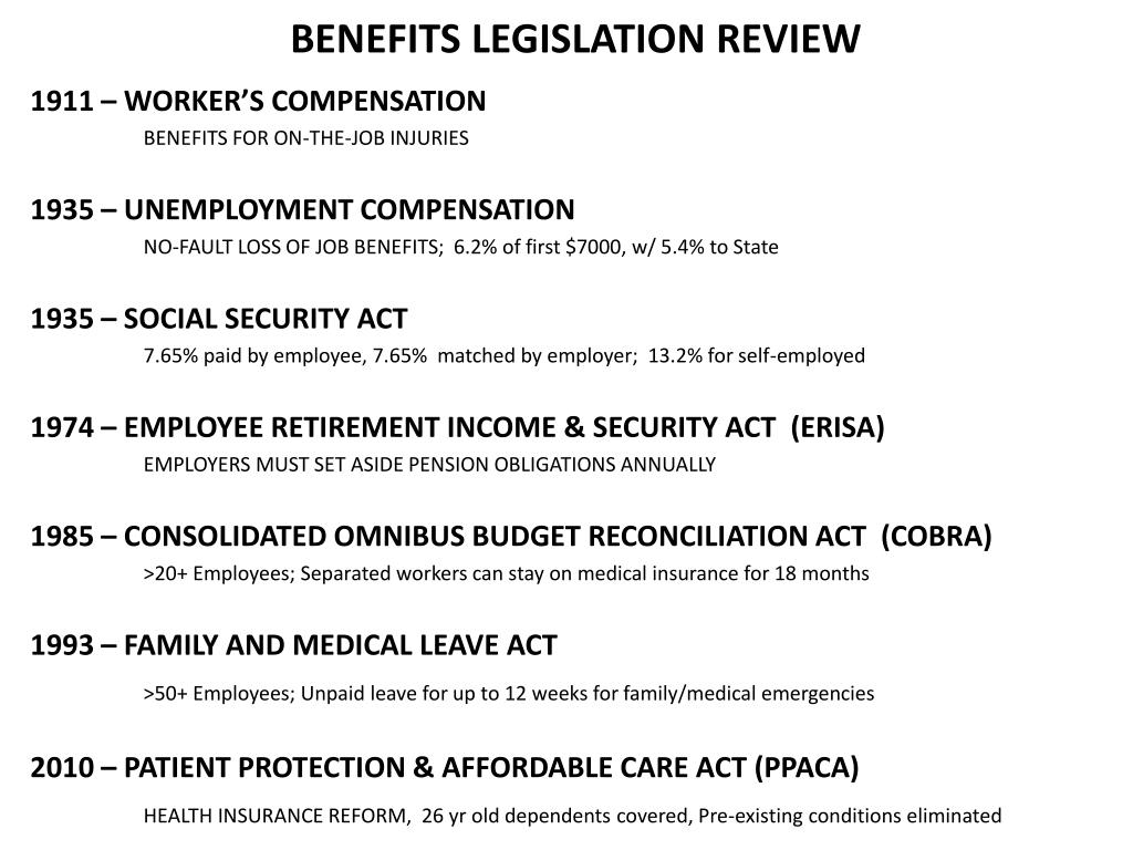 BENEFITS LEGISLATION REVIEW