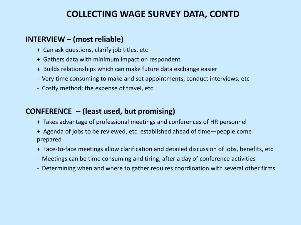 COLLECTING WAGE SURVEY DATA, CONTD