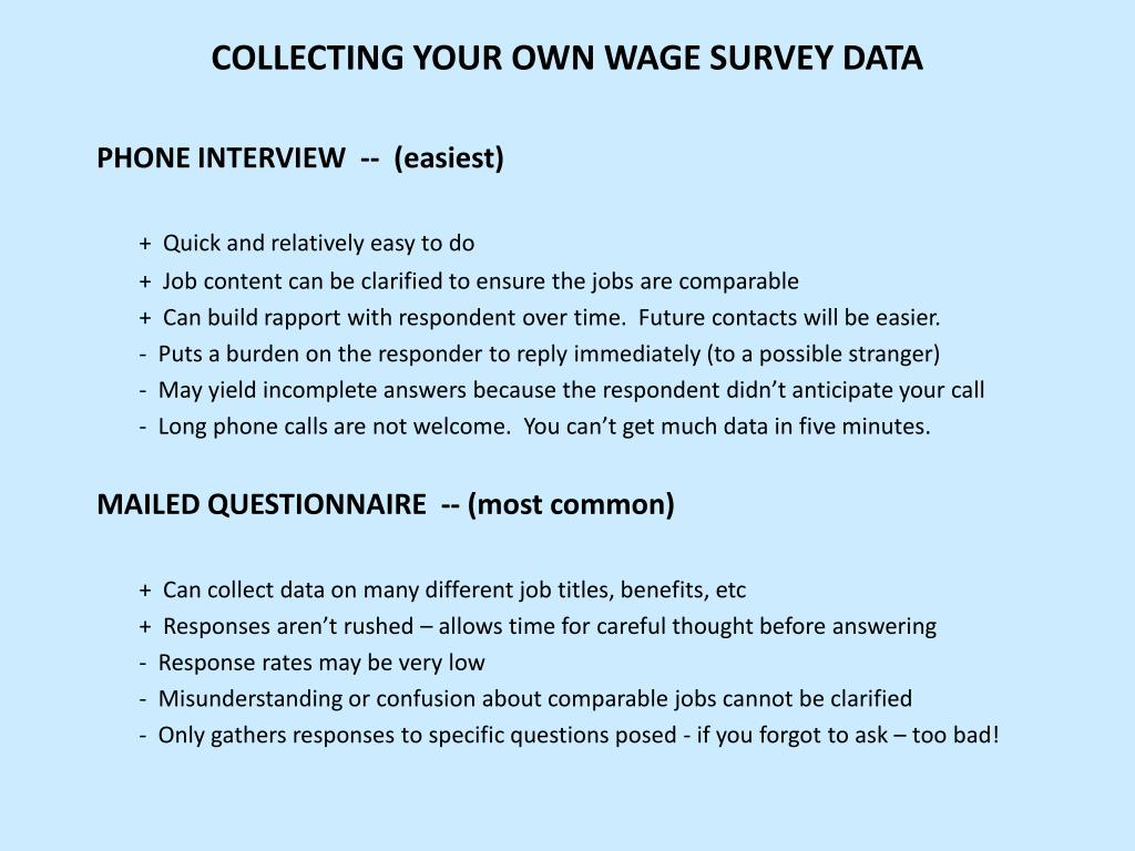 COLLECTING YOUR OWN WAGE SURVEY DATA