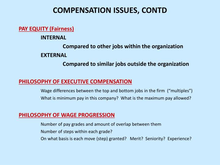 Compensation issues contd