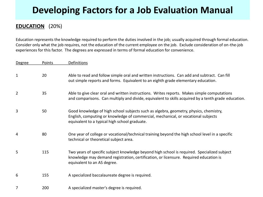 Developing Factors for a Job Evaluation Manual