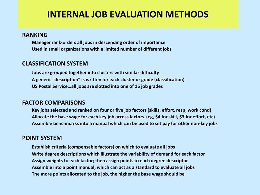 INTERNAL JOB EVALUATION METHODS