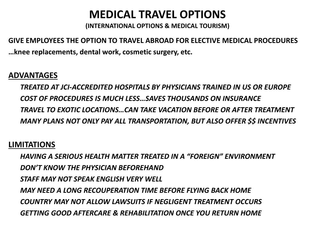 MEDICAL TRAVEL OPTIONS