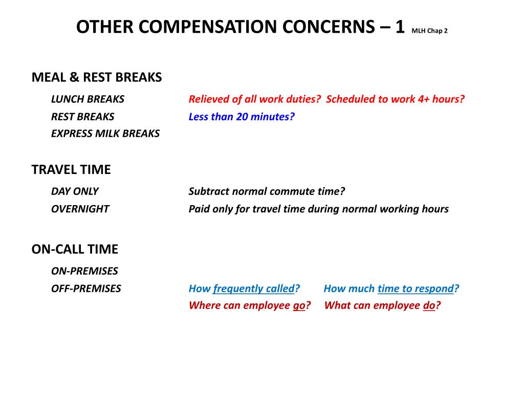 OTHER COMPENSATION CONCERNS – 1