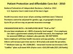 patient protection and affordable care act 2010