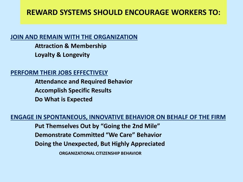 REWARD SYSTEMS SHOULD ENCOURAGE WORKERS TO:
