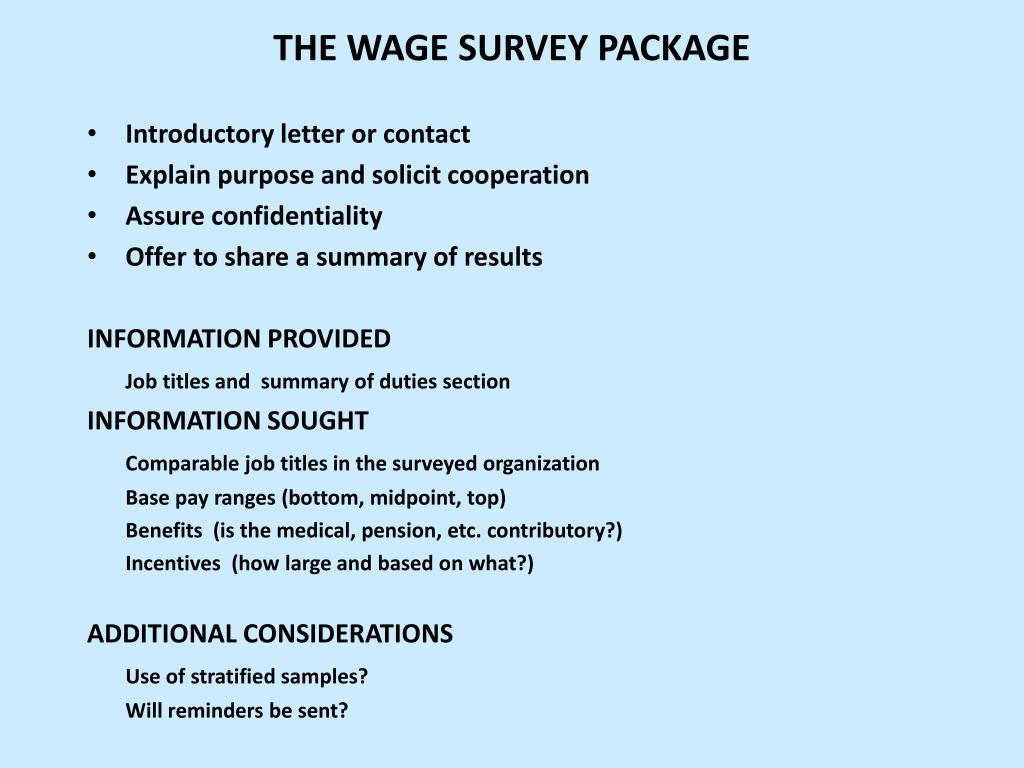 THE WAGE SURVEY PACKAGE
