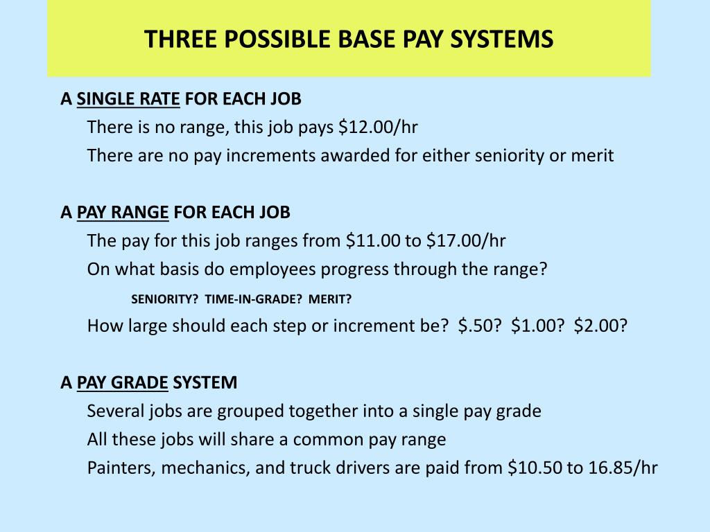 THREE POSSIBLE BASE PAY SYSTEMS