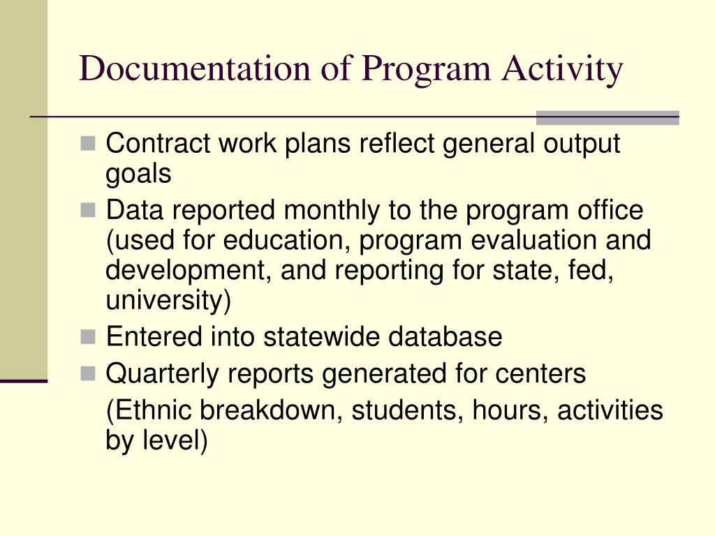 Documentation of Program Activity