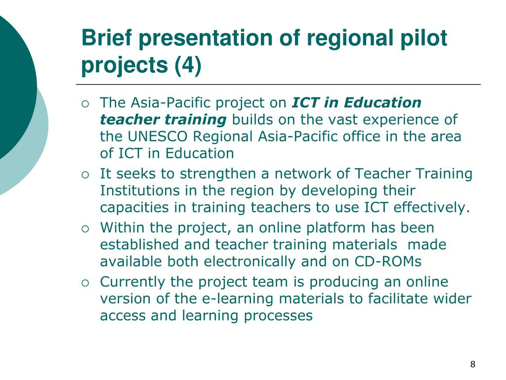 Brief presentation of regional pilot projects (4)