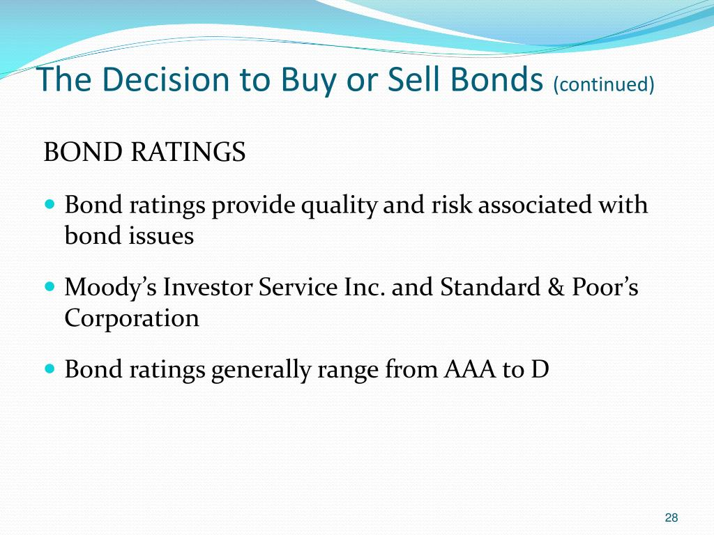 The Decision to Buy or Sell Bonds