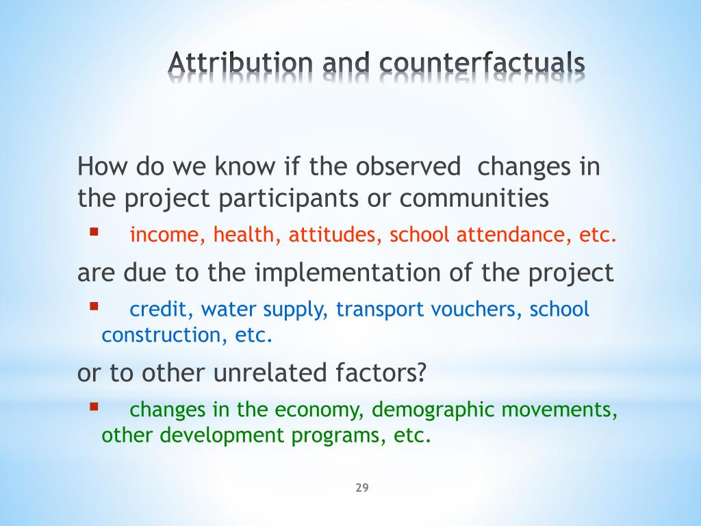 How do we know if the observed  changes in the project participants or communities