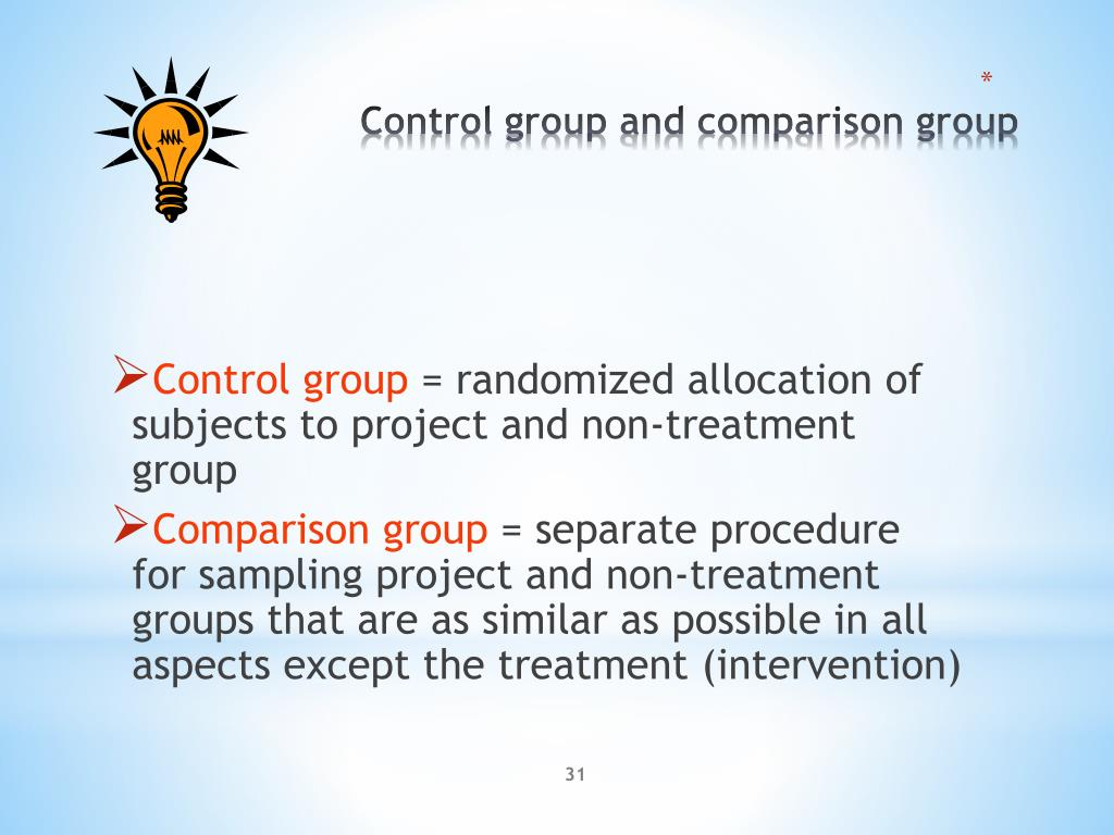 Control group and comparison group