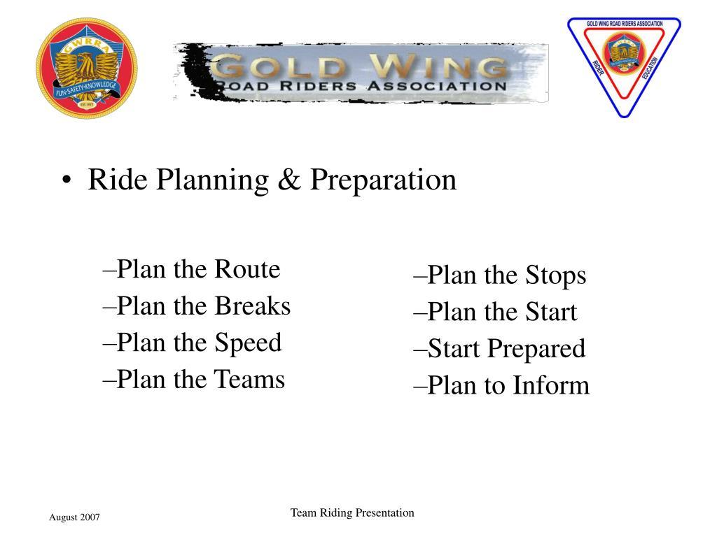 Ride Planning & Preparation