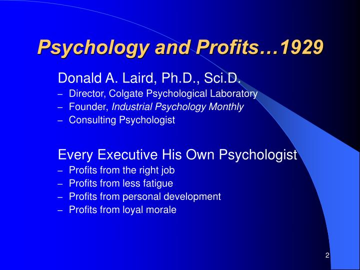 Psychology and profits 1929