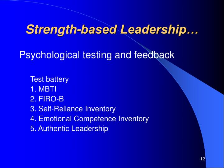 Strength-based Leadership…