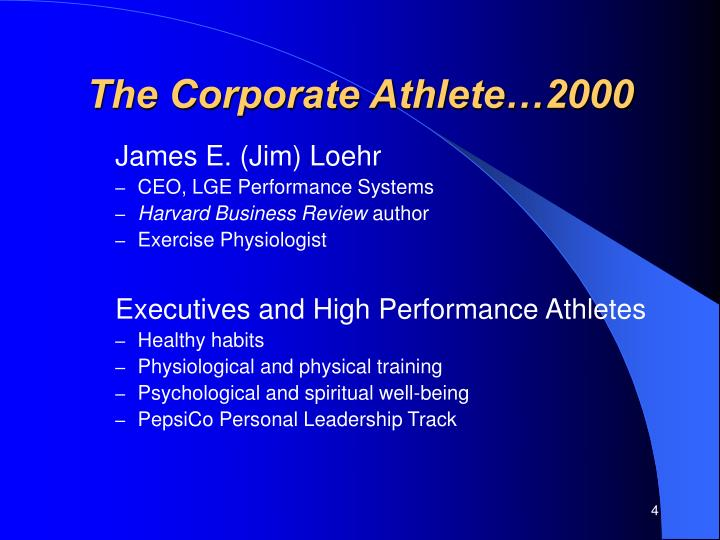 The Corporate Athlete…2000