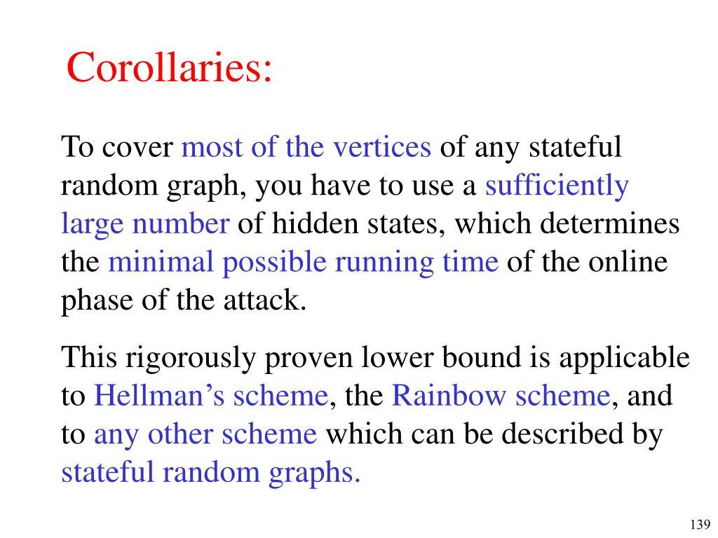 Corollaries: