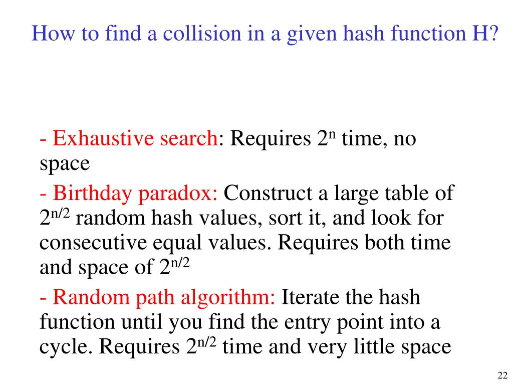 How to find a collision in a given hash function H?