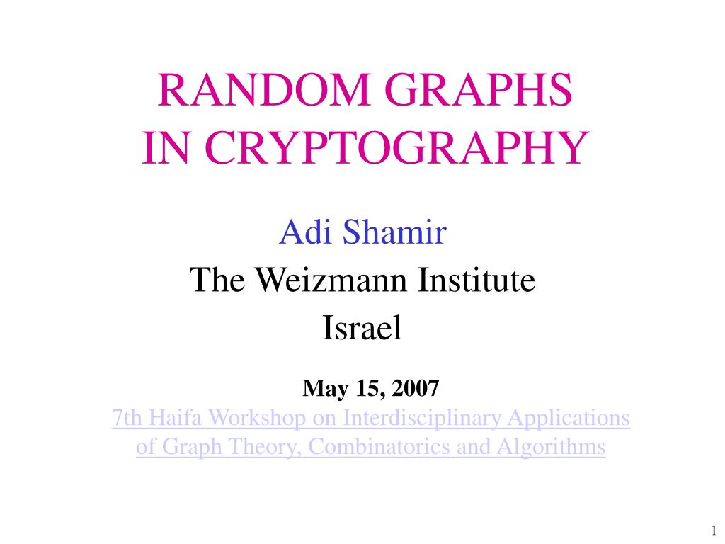 random graphs in cryptography