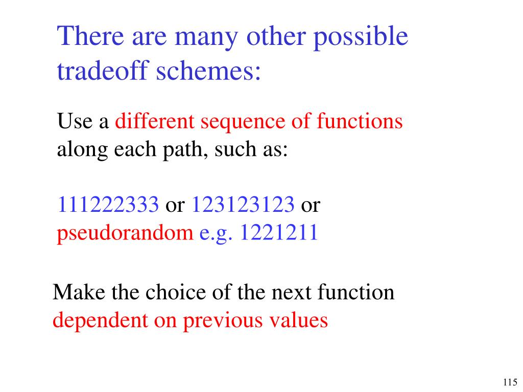 There are many other possible tradeoff schemes: