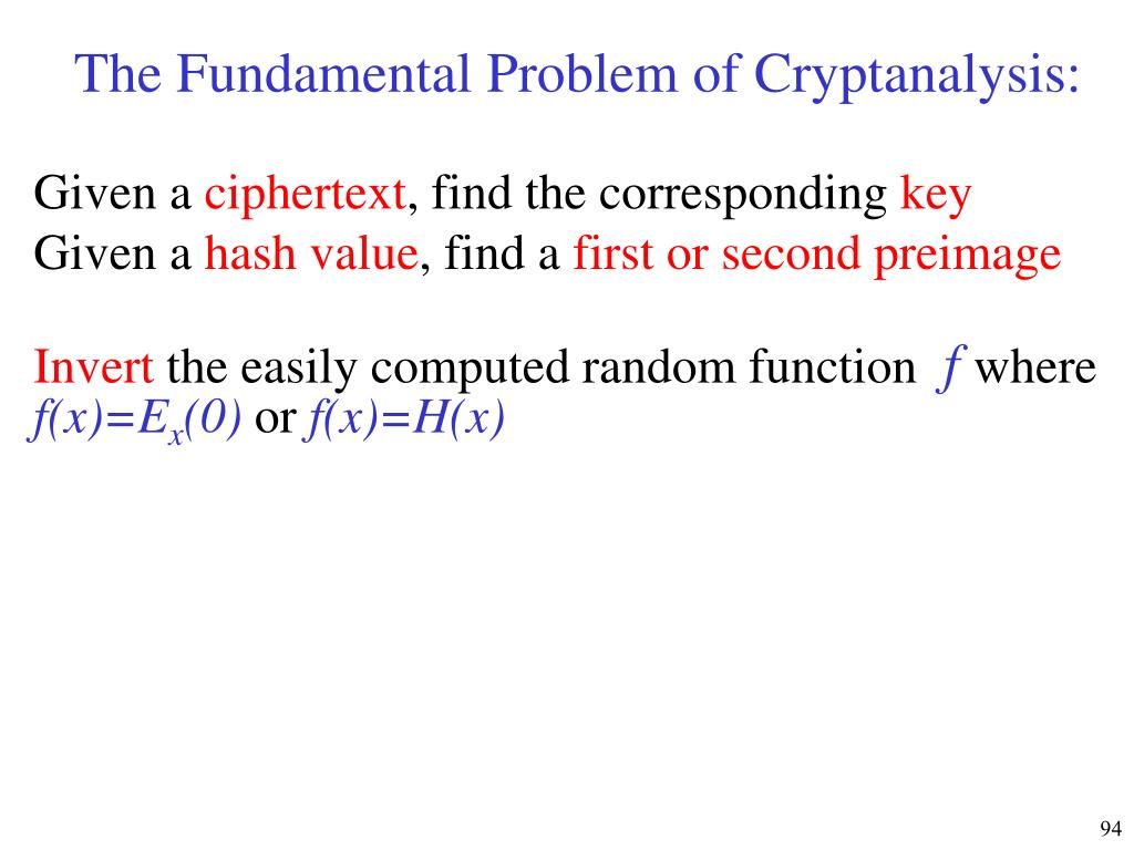 The Fundamental Problem of Cryptanalysis: