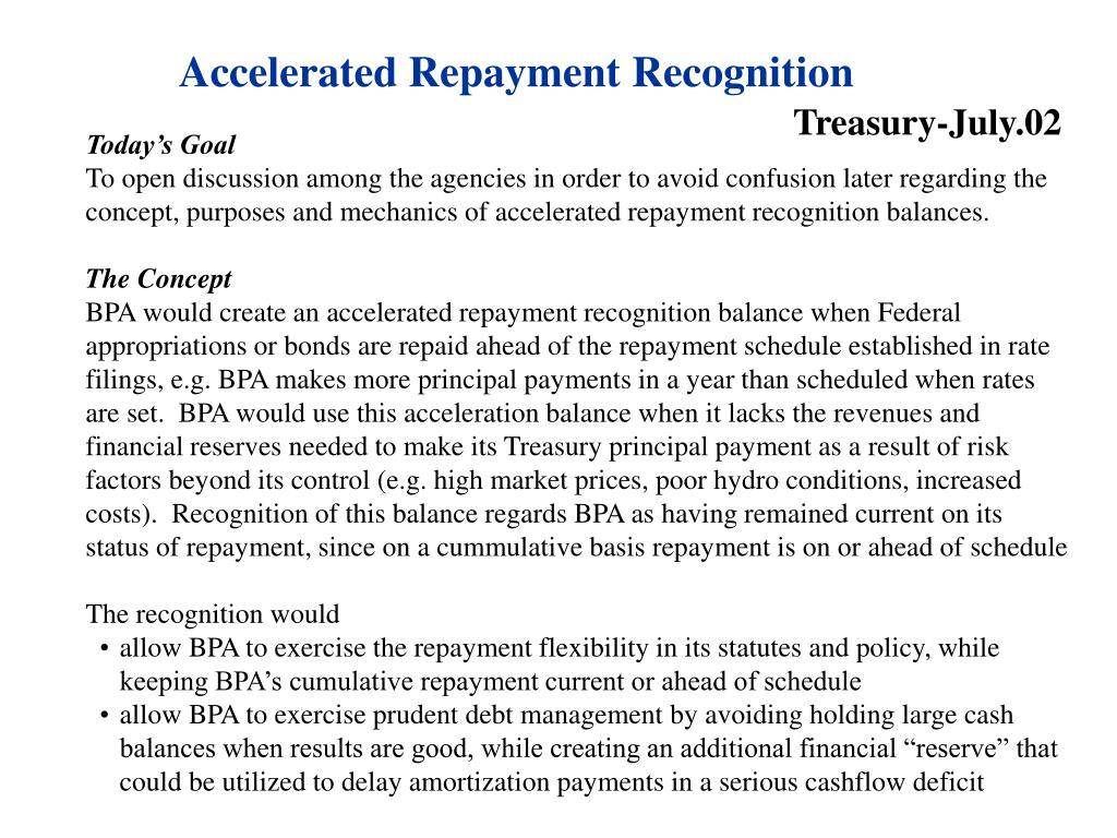 Accelerated Repayment Recognition