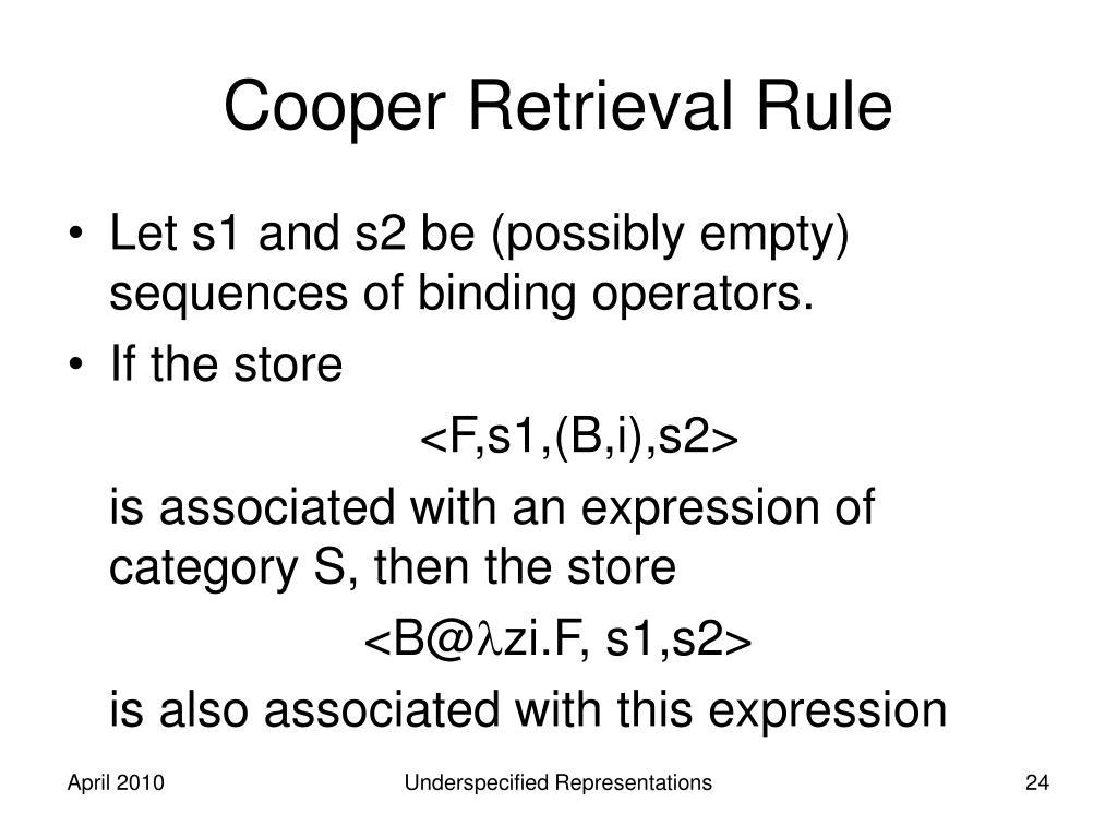 Cooper Retrieval Rule