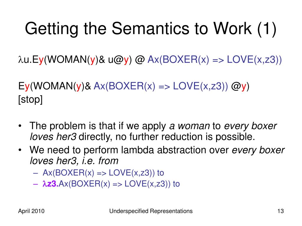 Getting the Semantics to Work (1)