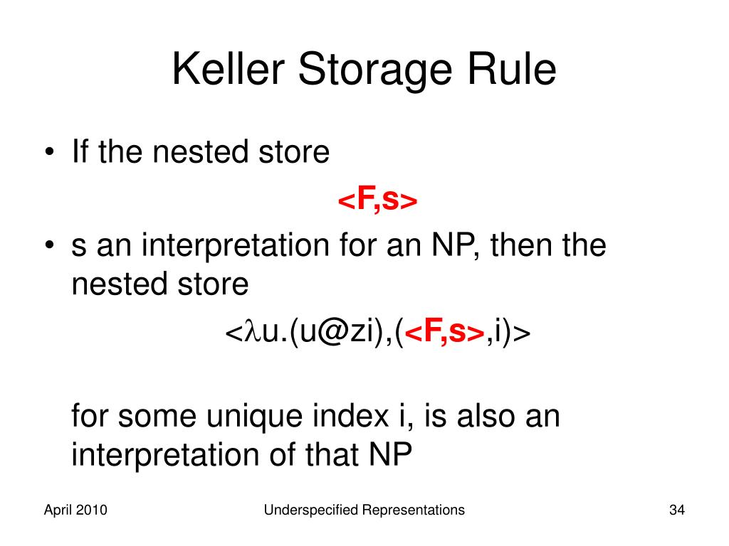 Keller Storage Rule