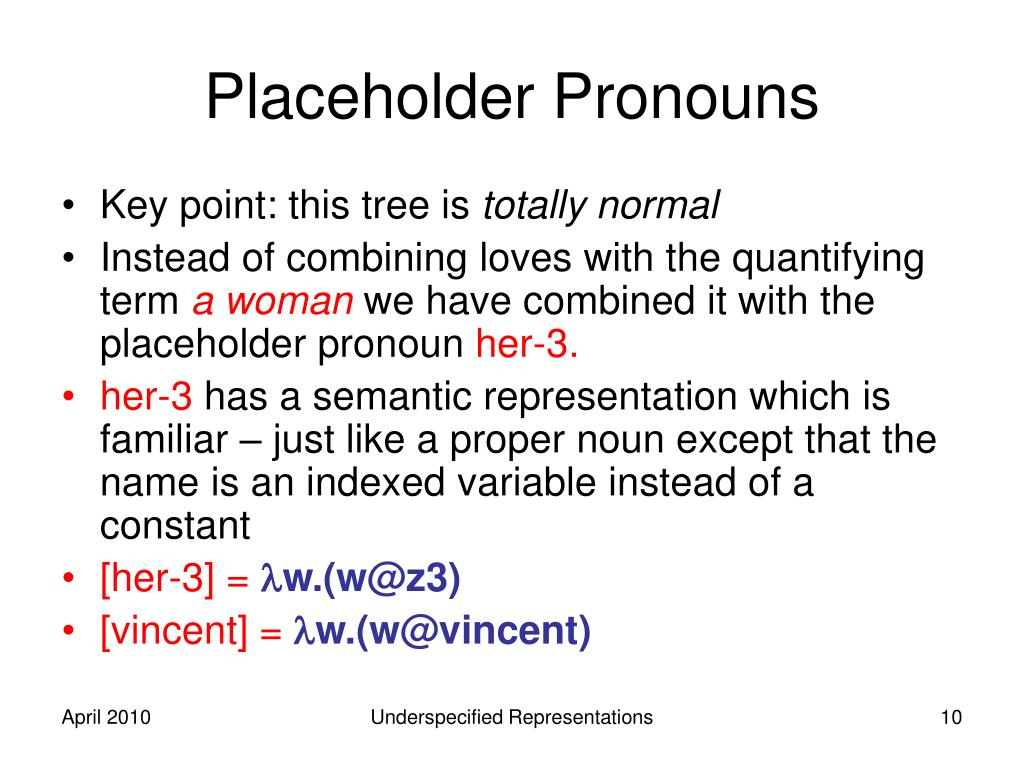 Placeholder Pronouns
