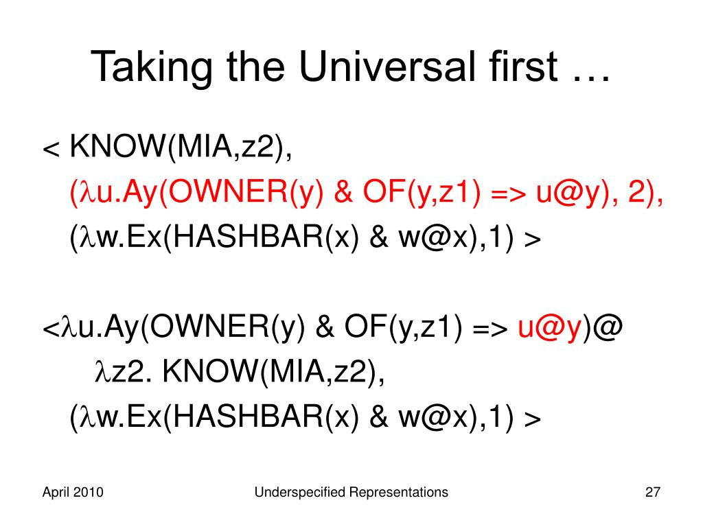 Taking the Universal first …