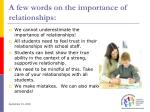 a few words on the importance of relationships