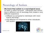neurology of autism