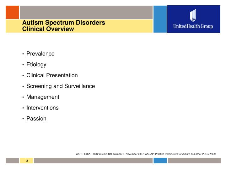 Autism spectrum disorders clinical overview