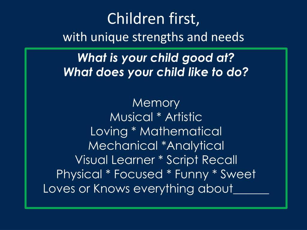 Children first,