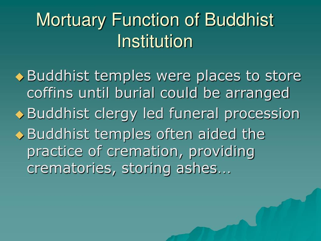 Mortuary Function of Buddhist Institution