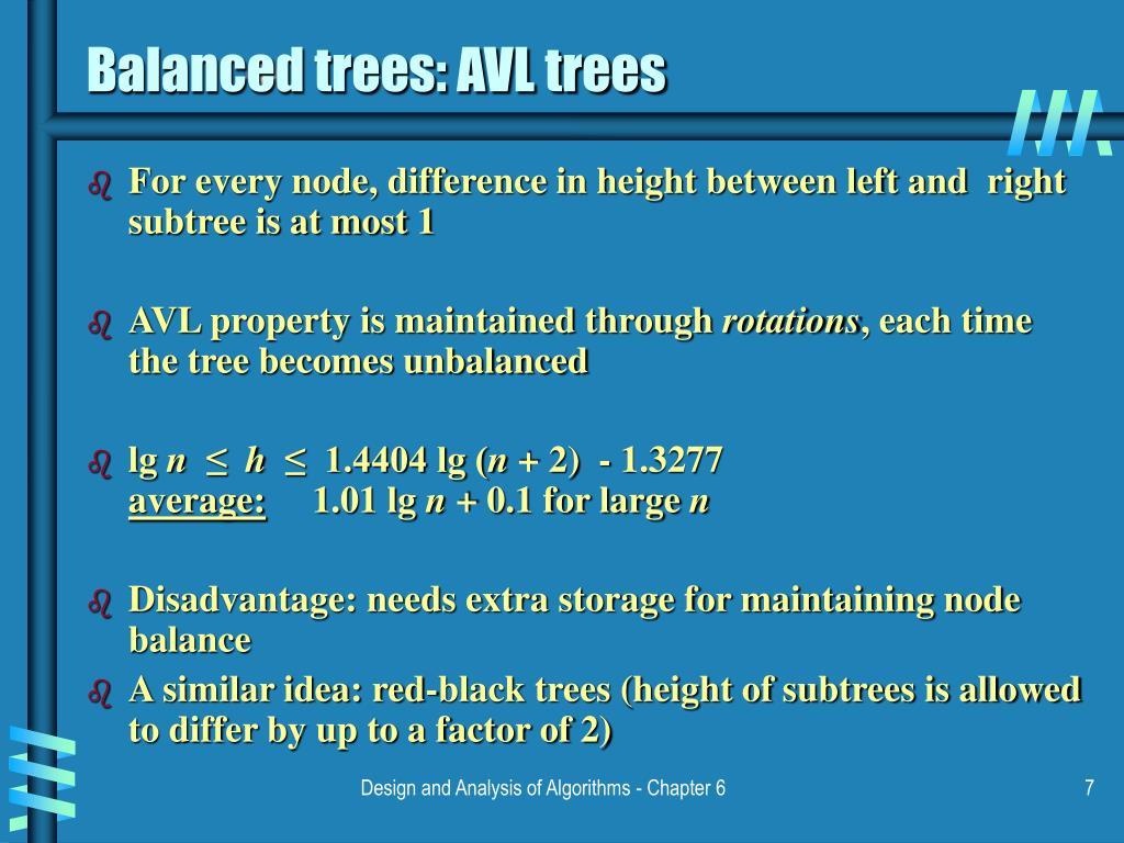 Balanced trees: AVL trees