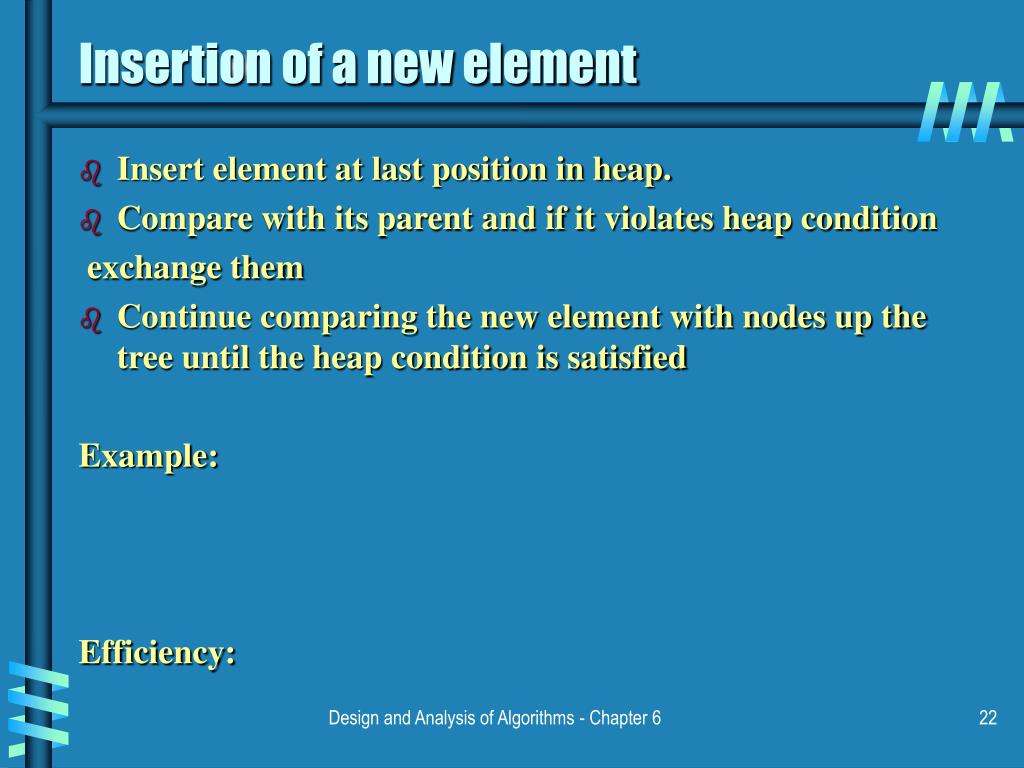 Insertion of a new element