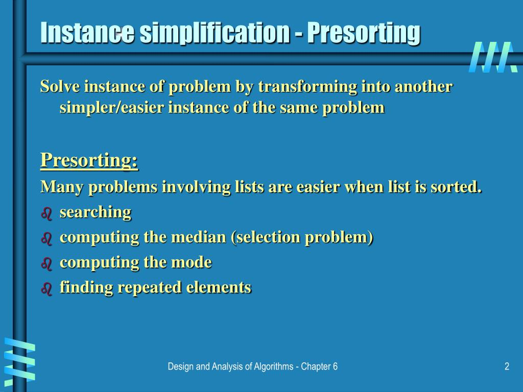 Instance simplification - Presorting