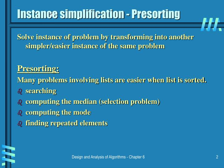 Instance simplification presorting l.jpg