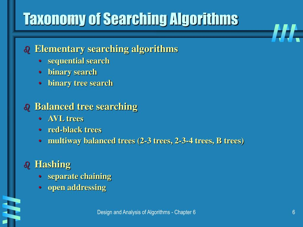 Taxonomy of Searching Algorithms